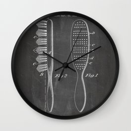 Hair Brush Patent - Salon Art - Black Chalkboard Wall Clock