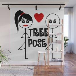 Cute Stick Figure Yogi in Tree Pose Wall Mural