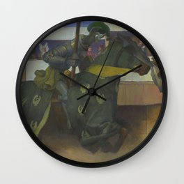 A Medieval Knights Jousting Tournament Wall Clock