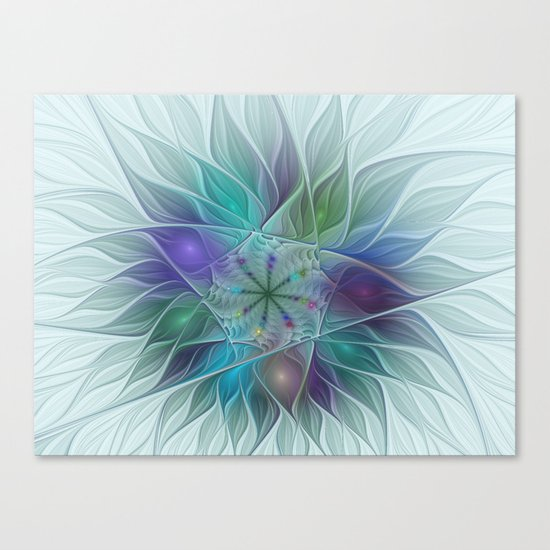Colorful Fantasy Flower Fractal Art Abstract Canvas Print