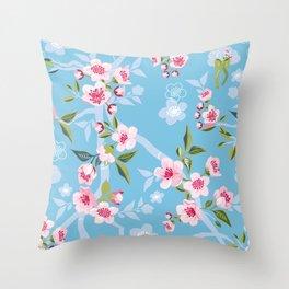 Cherry Blossom Blue Sky Throw Pillow