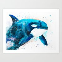 orca Art Prints featuring Orca  by Slaveika Aladjova