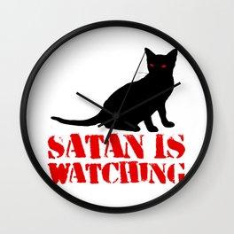 Satan is Watching Cat Wall Clock