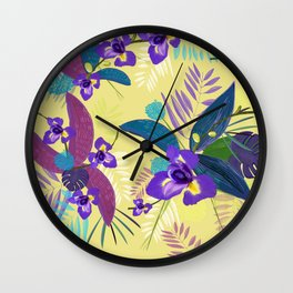 Iris Flower Purple Tropical Leaves Pattern With Yellow Background Wall Clock