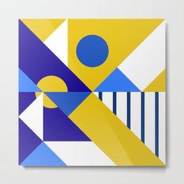 Geometric Yellow/Blue/White/Cyan Metal Print