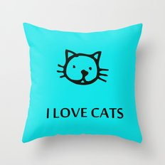 I LOVE CATS BLUE Throw Pillow