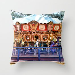 Carousel inside the Mall Throw Pillow