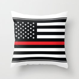 Red Thin Flag Firefighter Throw Pillow