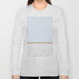 Duck egg blue marble Long Sleeve T-shirt