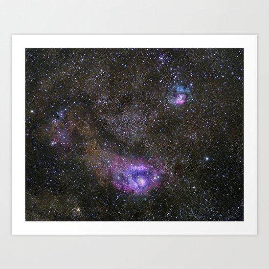 Lagoon and Trifid Nebula in Sagitarius Art Print