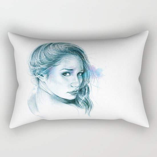 Look away, look away... | blue Rectangular Pillow