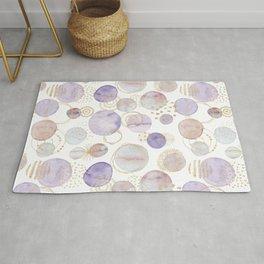Watercolour Circles   Lavender, Gold & Lilac Palette Rug