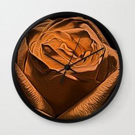 Rose Burnt Orange by David Brier Wall Clock
