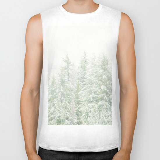 White Winter Forest with a Hint of Mint Biker Tank