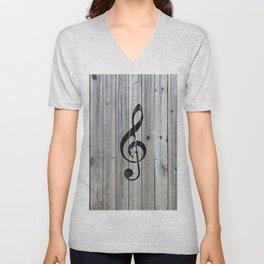 Vintage black music note Treble Clef gray wood Unisex V-Neck