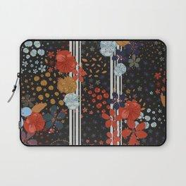 Organised Florals Ditsy Floral Pattern Black Background Laptop Sleeve
