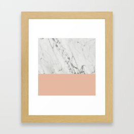 Marble and Blush Pink Framed Art Print