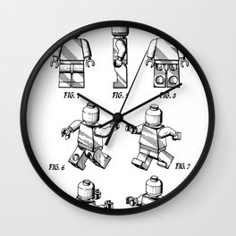 Legos Patent - Block Man Art - Black And White Wall Clock