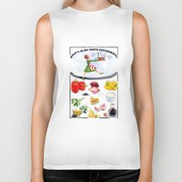 pasta Biker Tanks featuring WHAT'S IN MY PASTA PEPERONATA? by Colette van der Wal
