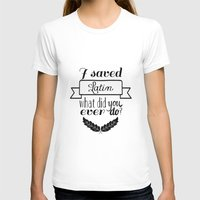 rushmore T-shirts featuring I saved Latin. What did you ever do? / Rushmore by swan song