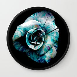 Fluid Nature- Marbled Blue Rose Wall Clock