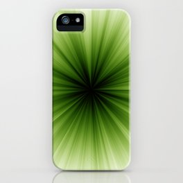 Green and White Sunburst Abstract iPhone Case