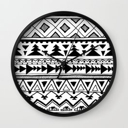 Tribal bohemian Mexican Aztec Style Pattern Doodle Wall Clock