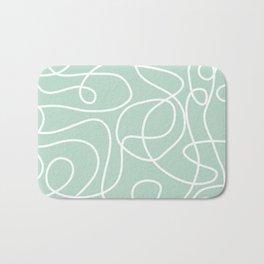 Doodle Line Art | White Lines on Mint Green Bath Mat