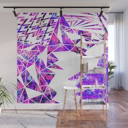 Girly Pink Violet and White Fragmented Geometric Wall Mural