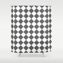 Diamonds - White and Dark Gray Shower Curtain