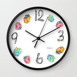 Difference Is Not Wrong watercolor painting strawberry illustration fruits nursery kitchen Wall Clock