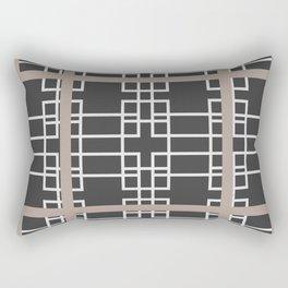 Midcentury Modern Geometric Brown Rectangular Pillow