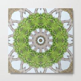 Bark Leaves Stone Kaleidoscope Art 6 Metal Print