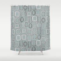 frames Shower Curtains featuring picture frames grey by Sharon Turner