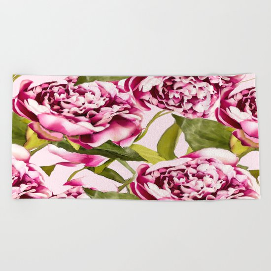 Peonies on a pastel pink background - #Society6 #buyart Beach Towel