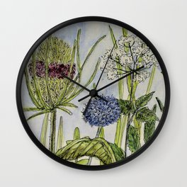 Herbs Wildflowers Garden Flowers Wall Clock