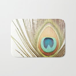 Peacock Feather Photography, Brown Teal Peacock Feathers Art, Modern Turquoise Orange Nature Bath Mat