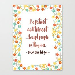 [International Day of Families] Be patient and tolerant Canvas Print