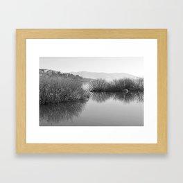 Lakescape in bw Framed Art Print
