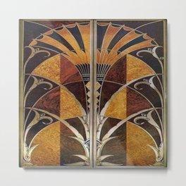 Art nouveau,Original wood work, elevator door, NYC Building Metal Print