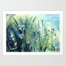 Forget me not flowers Art Print