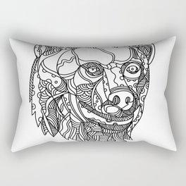Brown Bear Head Doodle Rectangular Pillow