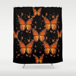 ORANGE MONARCH BUTTERFLIES BLACK MONTAGE Shower Curtain