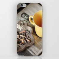 cigarettes iPhone & iPod Skins featuring Coffee & cigarettes by Clara Blum
