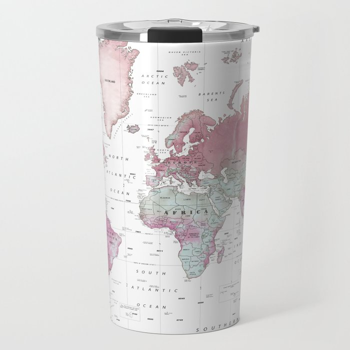 World Map Wall Art [Pink Hues] Travel Mug