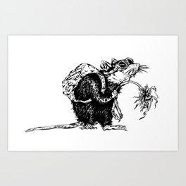 Rat with Flower #3, travel rat Art Print