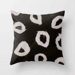 Round, Abstract, White & Black Throw Pillow