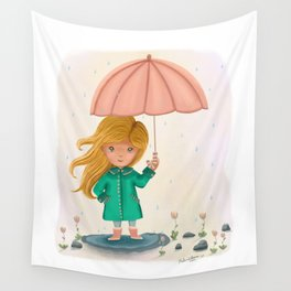 Rainy Day + Puddles - Little Girl Art Print  Wall Tapestry