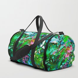 Leaves Buds Green Pink Duffle Bag