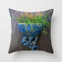 Succulent in Blue Wall Sconce Throw Pillow